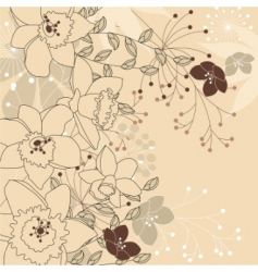 stylish floral light beige background vector image