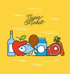 supermarket food set with meat steak bottle vector image