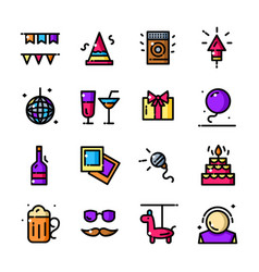 thin line party icons set vector image vector image