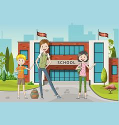Three school kids vector