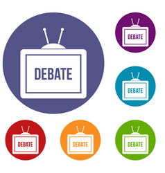 Tv with the debate inscription icons set vector