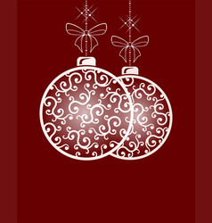 two christmas balls with ornament in retro style vector image
