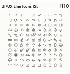 UI and UX big bold line icons kit vector
