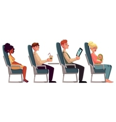 Various passengers man and women in airplane vector image