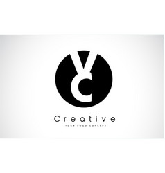 Vc letter logo design inside a black circle vector
