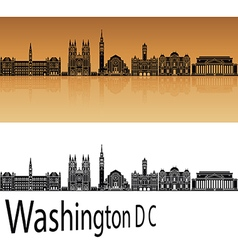 Washington DC V2 skyline in orange vector image