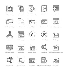 web and seo line icons 30 vector image