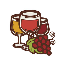 Wine glass and grape vine harvest vector