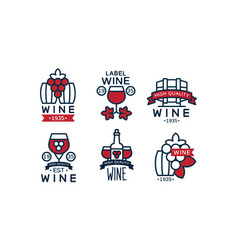 wine high quality retro labels collection alcohol vector image