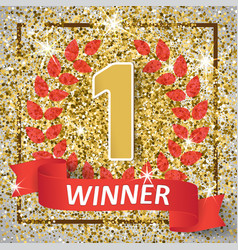 Winner number one background with red ribbon vector