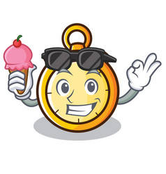 With ice cream chronometer character cartoon style vector