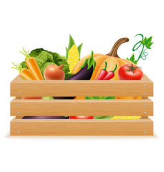 wooden box with fresh and healthy vegetables vector image