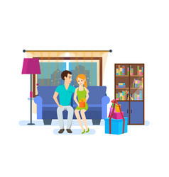 young couple of the interior of the room vector image