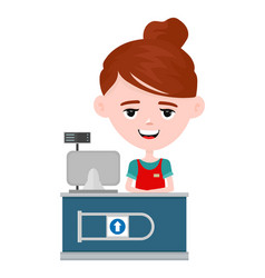 Young happy cute smiling cashier woman vector