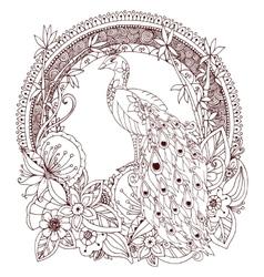 Zen Tangle peacock and vector