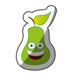 colorful kawaii fruit pear happy icon vector image vector image