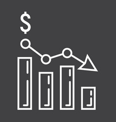 declining graph line icon business and finance vector image