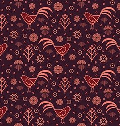 Seamless pattern rooster vector image vector image