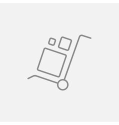 Shopping handling trolley line icon vector image