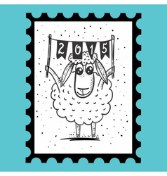 Stamp with sheep vector image
