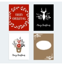 Set of Christmas New Year greeting journaling vector image vector image