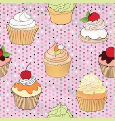 Cake pattern cafe menu tile background cupcake vector