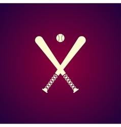 crossed baseball bats and ball set vector image