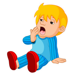 Cute boy cartoon sleepy vector