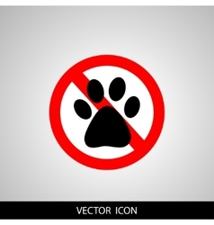 No Dog paw icon Pets symbol Red prohibition sign vector image vector image