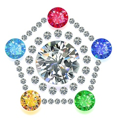 Pentagon composition colored gems set vector image vector image