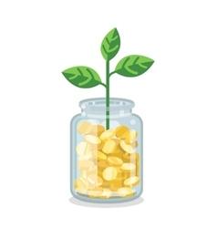Saving flat money jar with growing plant vector image