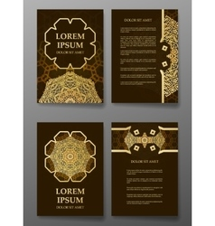 Brochure templates cards with arabic mandala vector image vector image