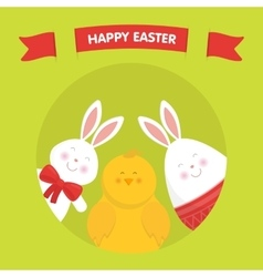 Cute Easter bunny chicken and egg vector image