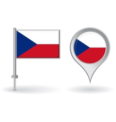 Czech pin icon and map pointer flag vector image vector image