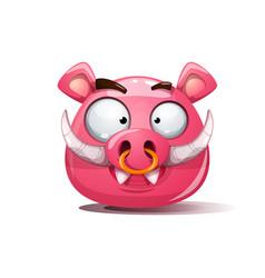 funny cute crazy boar smiley symbol of 2019 vector image vector image