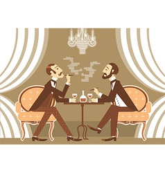 gentlemen talking and drinking alcohol in club vector image vector image