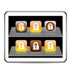 Lock orange app icons vector image vector image