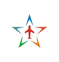 Logo Star Flit away Travel Plane vector image