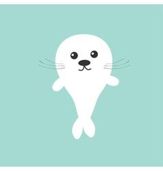 Seal pup baby harp Cute cartoon character Blue vector image vector image