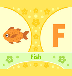 the english alphabet with fish vector image