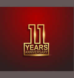 11 years golden anniversary line style isolated vector