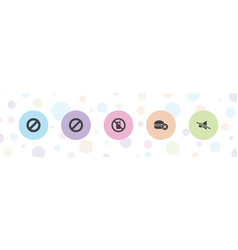 5 prohibited icons vector