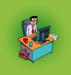 A male businessman works at an office workplace vector