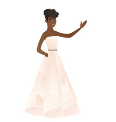 African-american fiancee showing a direction vector