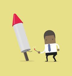 african businessman launching firework rocket vector image