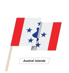 Austral Islands Ribbon Waving Flag Isolated on vector image