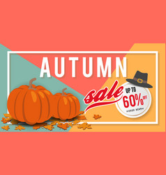 autumn sale banner background template design vector image