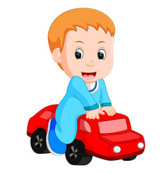 Baby boy plays with a toy car vector