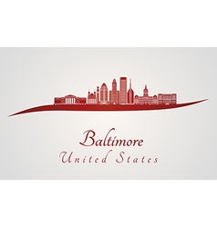 Baltimore skyline in red vector