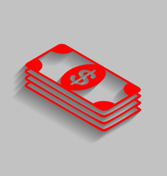 bank note dollar sign red icon with soft vector image